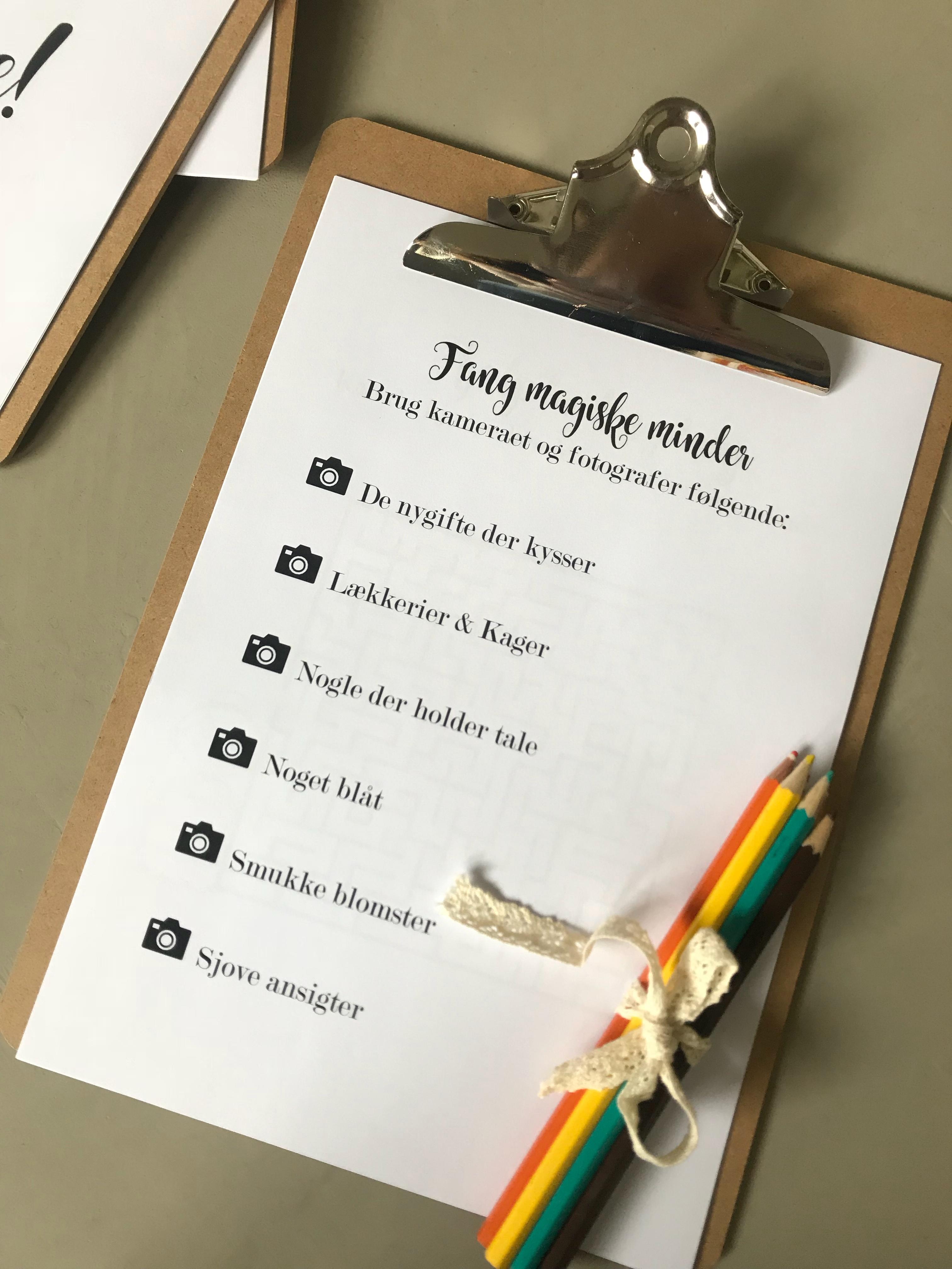 aktivitetsbog til bryllup